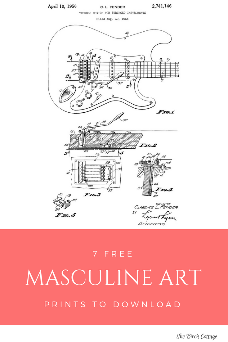 Masculine Art Prints - Tremolo Device Patent