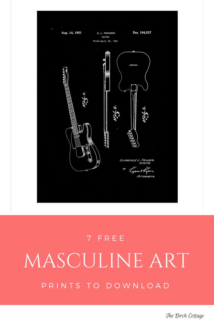 Masculine Art Print - Telecaster Patent