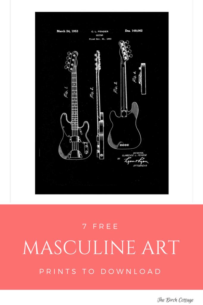 Masculine Art Print - Fender Bass Guitar Patent