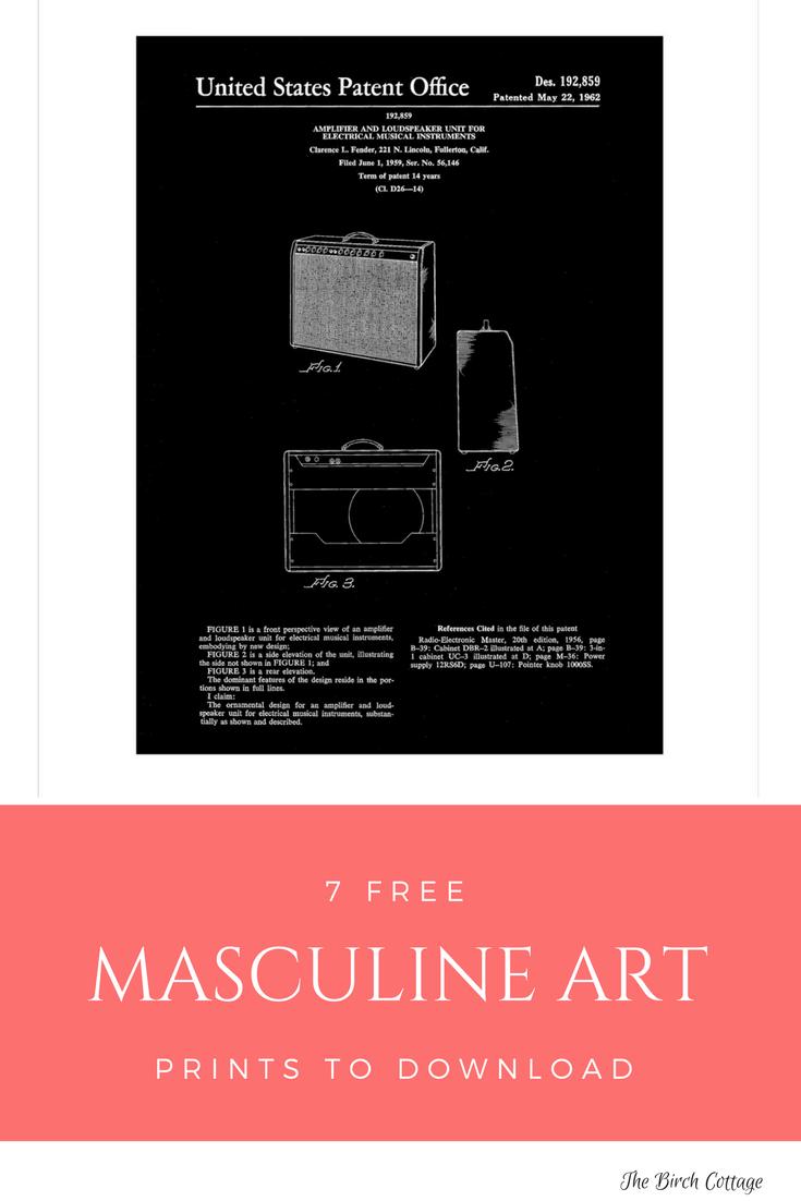 Masculine Art Print - Fender Amplifier Patent