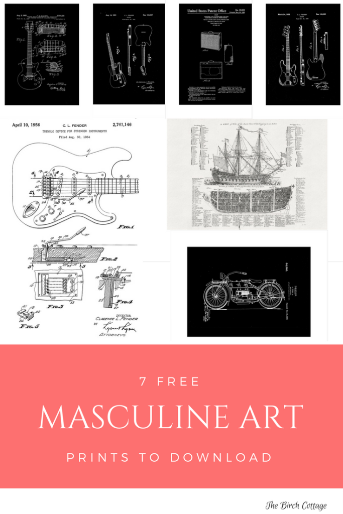 Seven free masculine art prints that you can download and print.