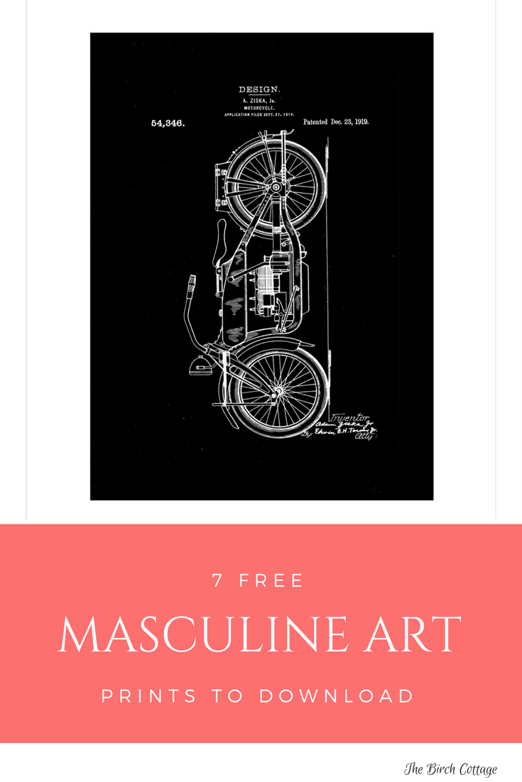 Masculine Art Prints - Motorcycle Patent