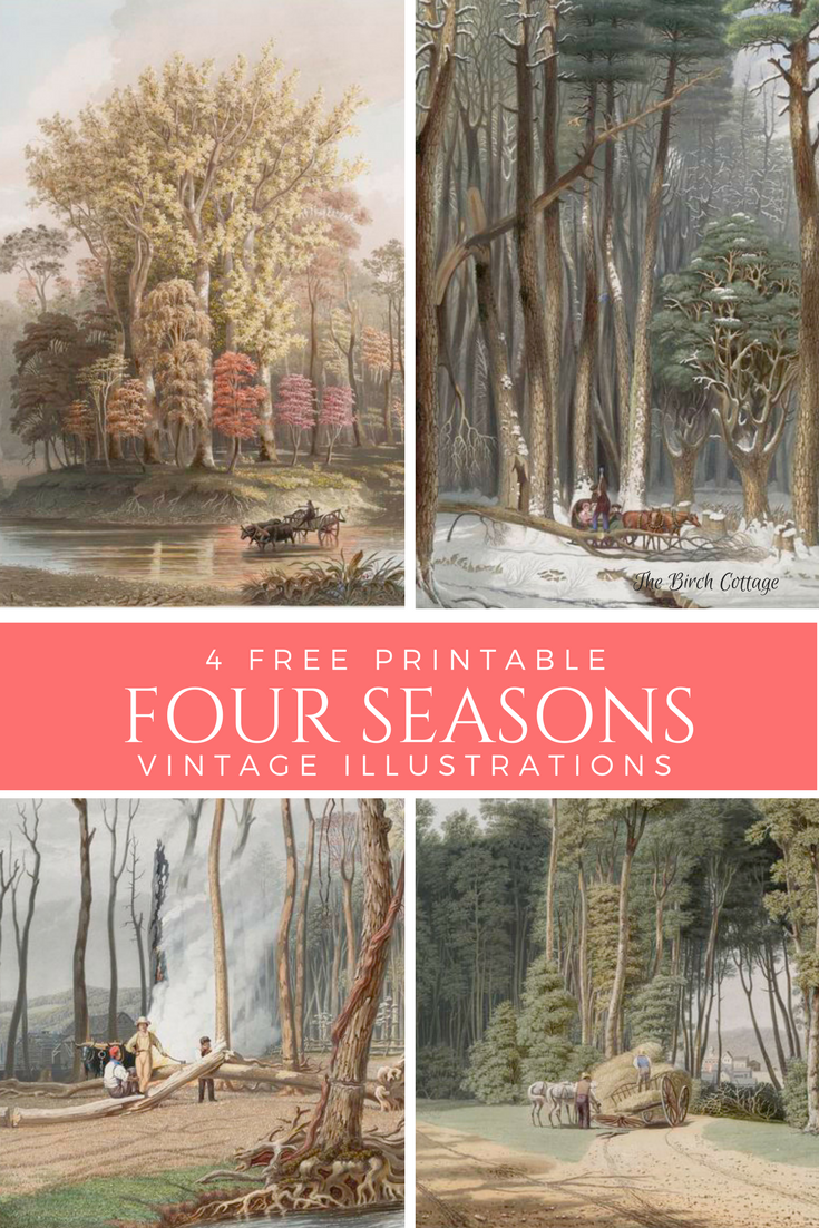 4 free printable four seasons vintage illustrations.