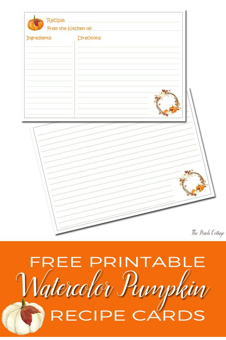 Watercolor Pumpkin Recipe Card is a free printable from The Birch Cottage