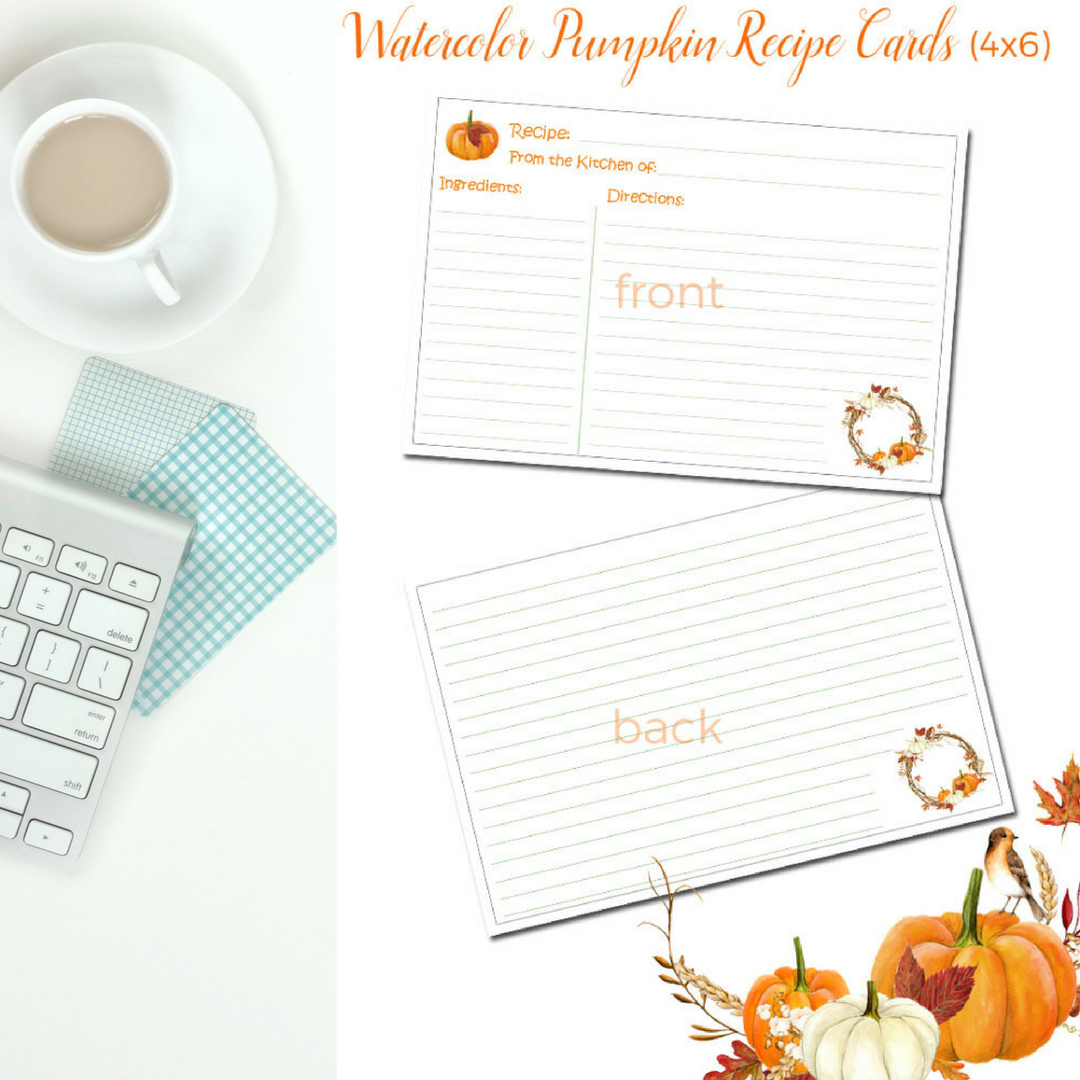 Watercolor Pumpkin Recipe Cards