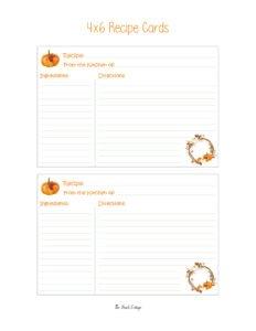 Recipe Card - Watercolor Pumpkins - Front - 4x6