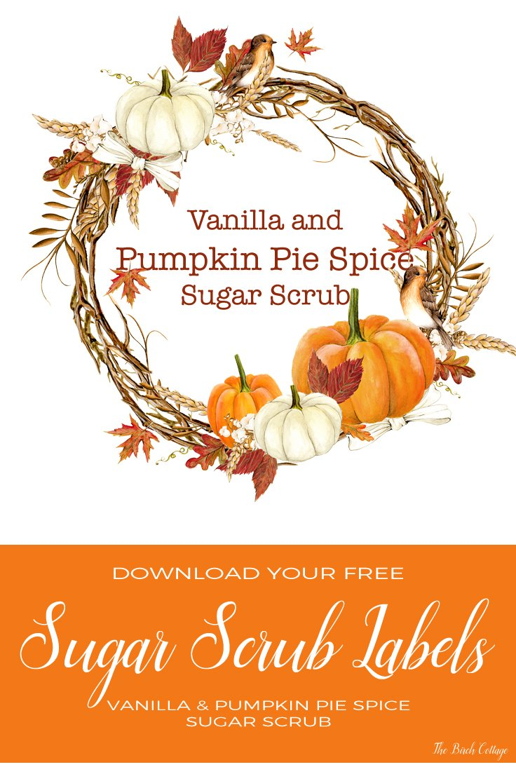 Vanilla Pumpkin Pie Spice Sugar Scrub labels