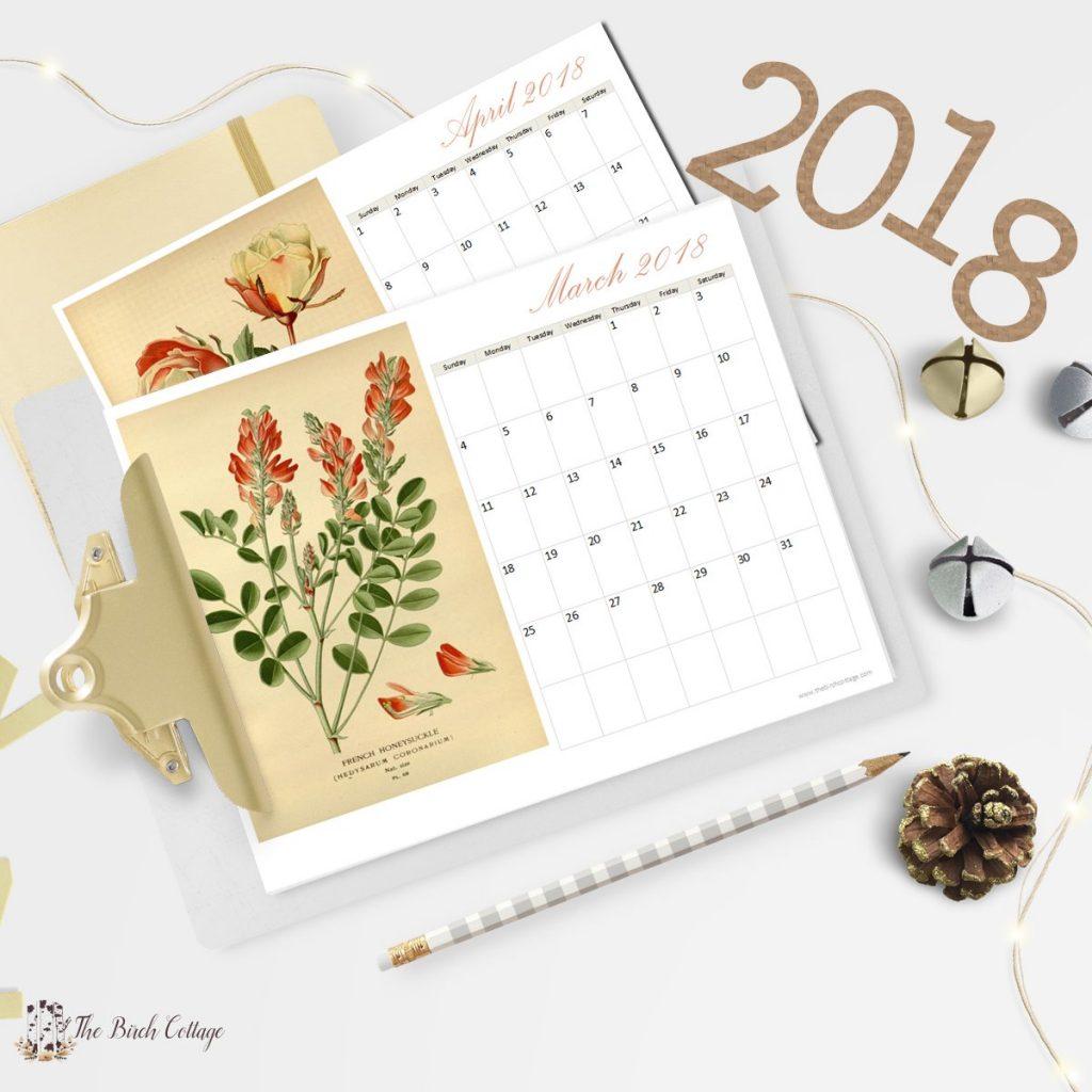 2018 Printable Botanical Calendar