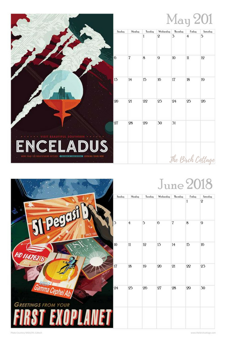 2018 Space Trave Monthly Calendar by The Birch Cottage
