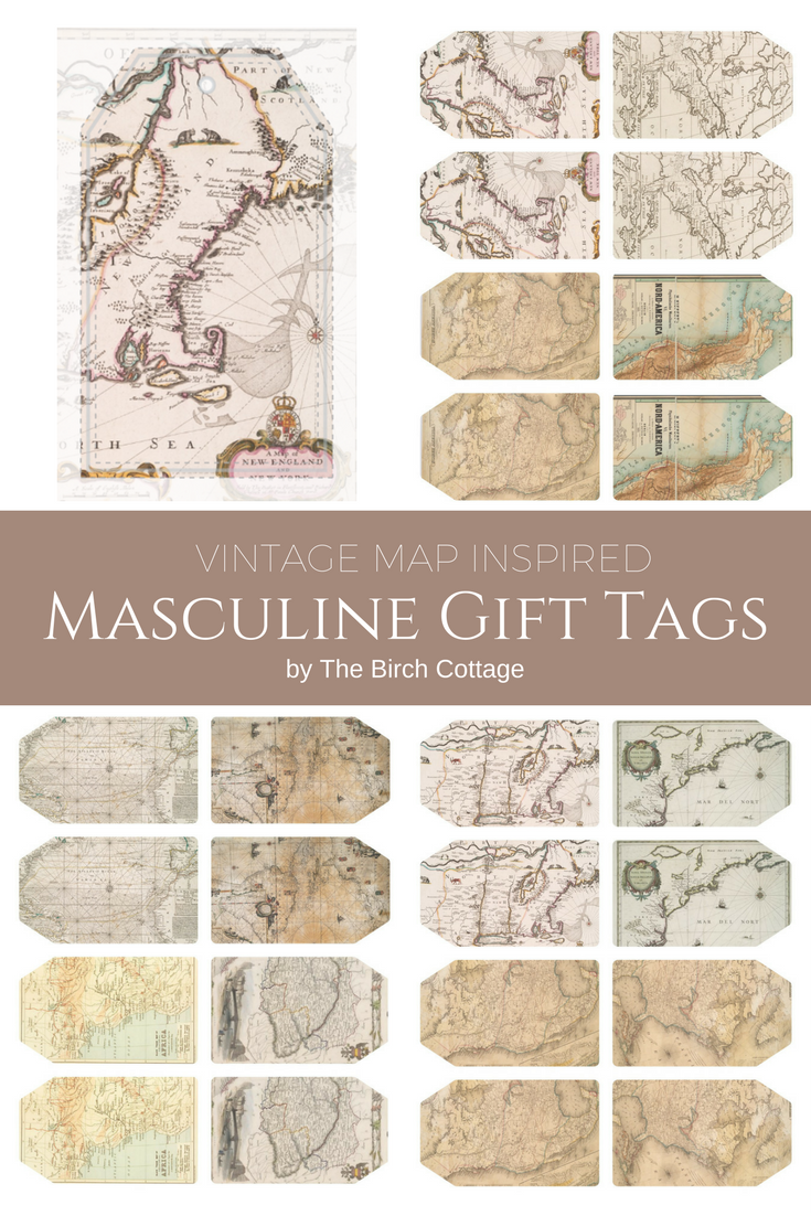 Vintage Map Inspired Masculine Gift Tags from The Birch Cottage