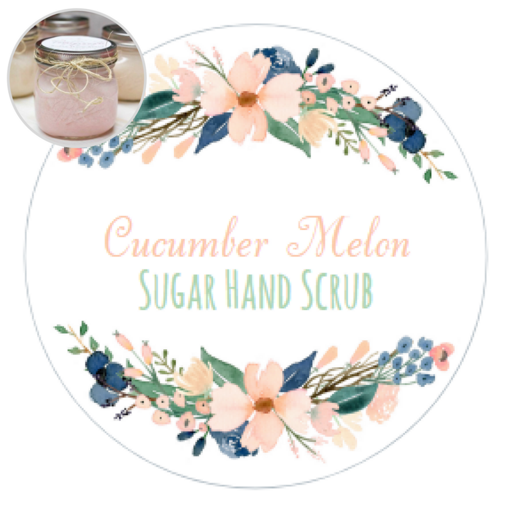 Sugar Hand Scrub Printable Labels by The Birch Cottage are new for 2017 - Cucumber Melon