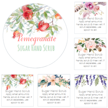 New sugar hand scrub printable labels