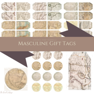 Download Your Free Printable Vintage Map Inspired Masculine Gift Tags