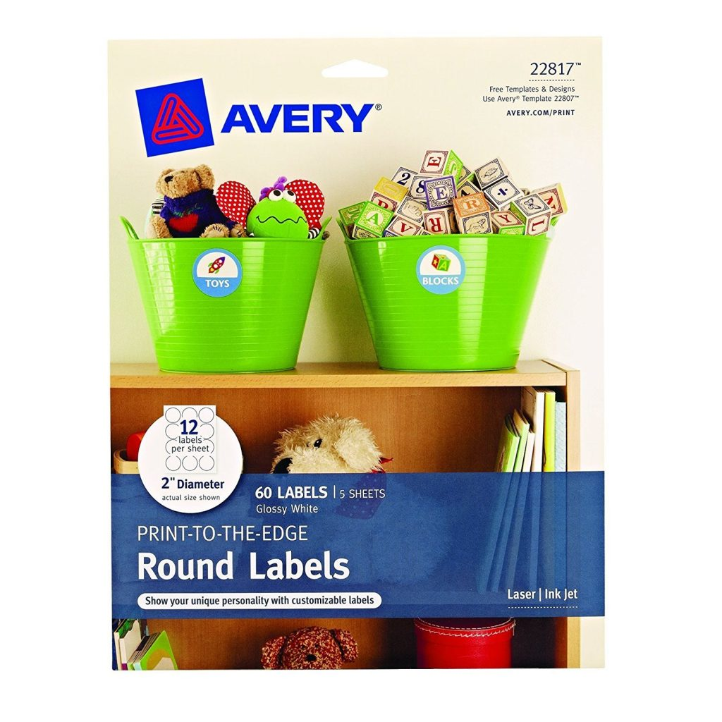 Avery 22817 Print-to-Edge Round Labels, 2inch