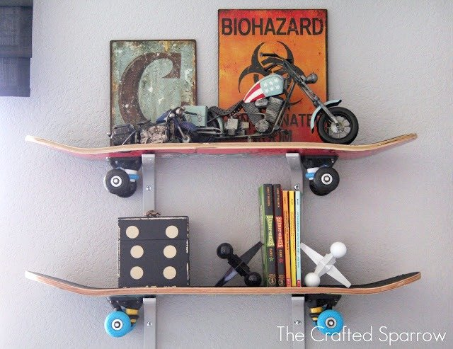 DIY Skateboard Shelf - Handmade Gift Ideas for Teens by The Birch Cottage