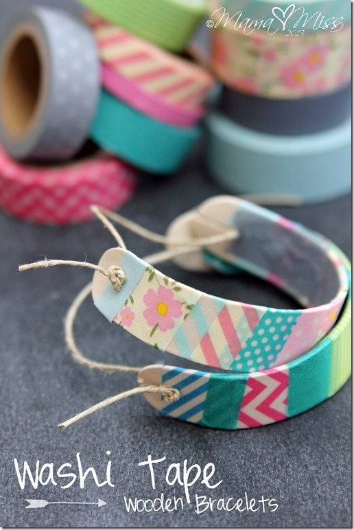 DIY Washi Tape Wooden Bracelets - Handmade Gift Ideas for Teens from The Birch Cottage