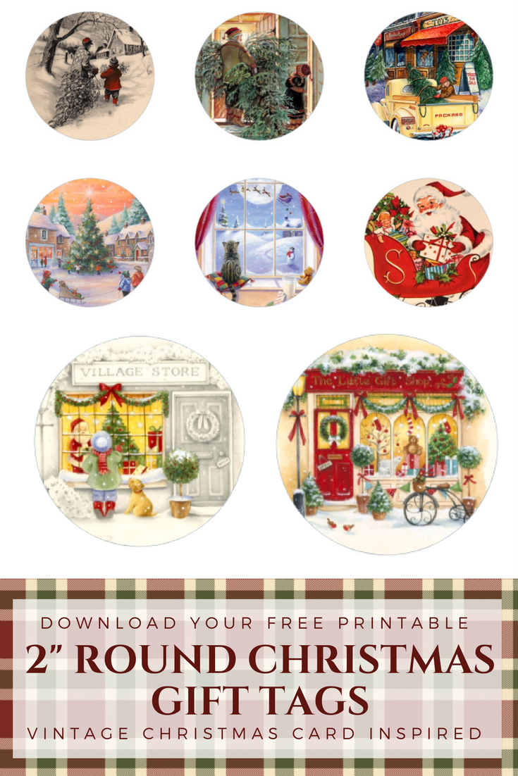 Round Christmas Gift Tags From Vintage Cards