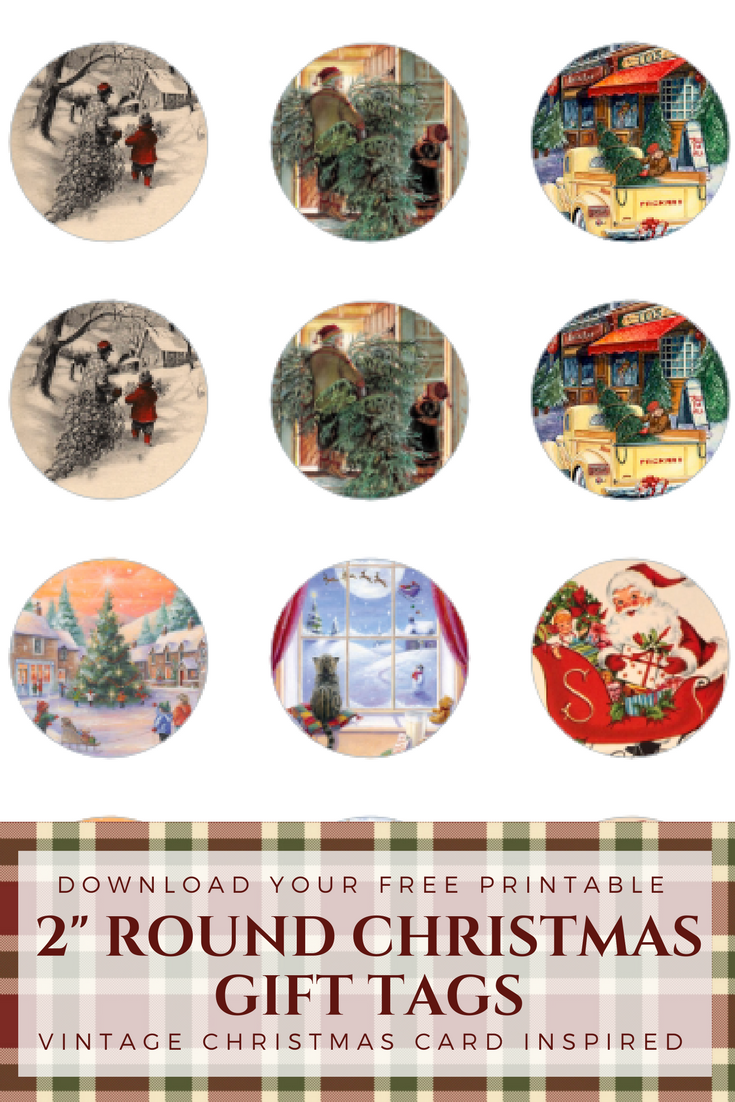 Round Christmas Gift Tags from Vintage Christmas Cards