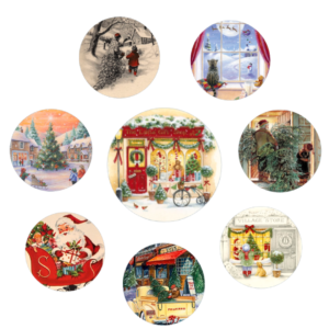 Print these Round Christmas Gift Tags Inspired from Vintage Christmas Cards