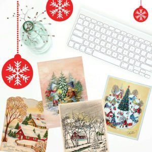 Printable Vintage Christmas Cards are available for purchase through The Birch Cottage Shop on Etsy