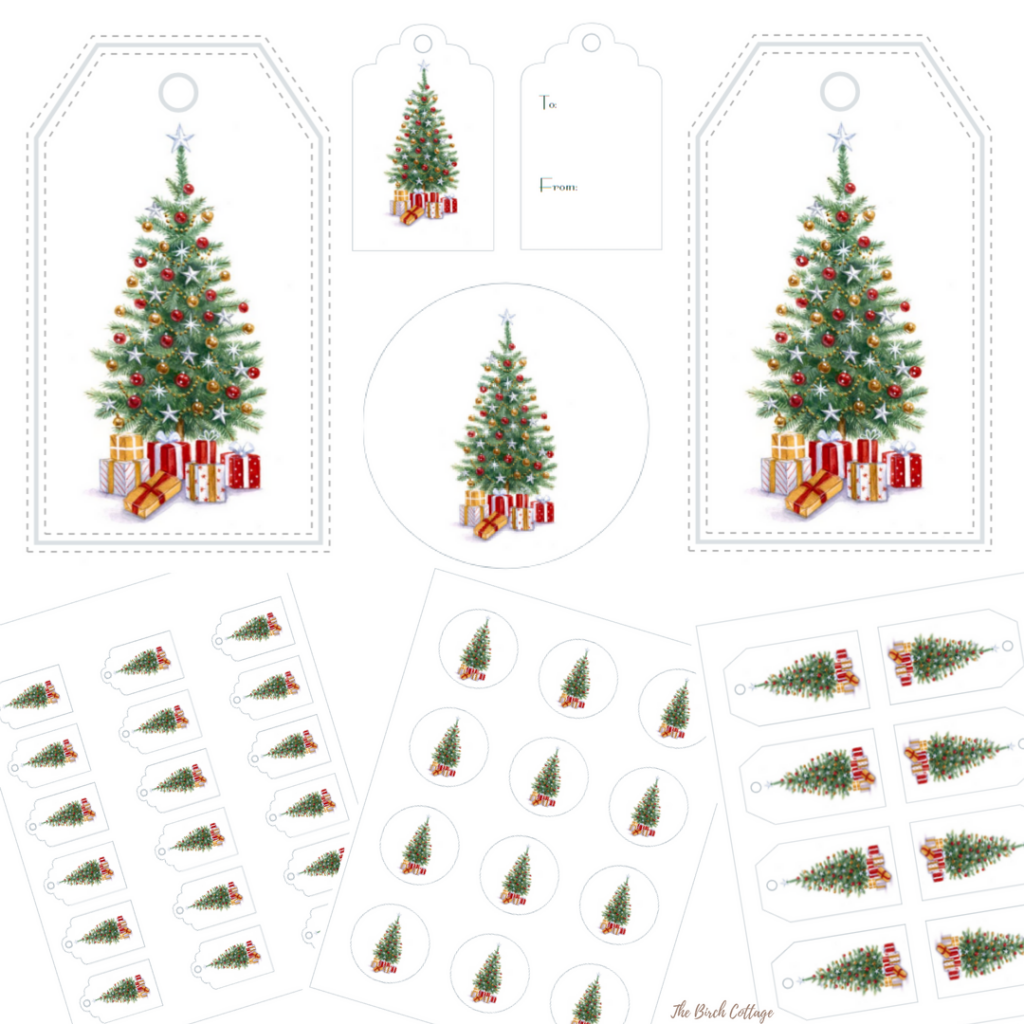 Vintage Christmas Tree Gift Tags - The Birch Cottage