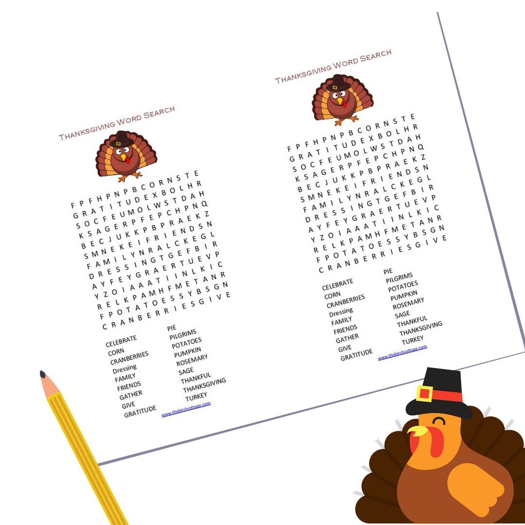 Download you free printable Thanksgiving Word Search and keep your little ones busy!