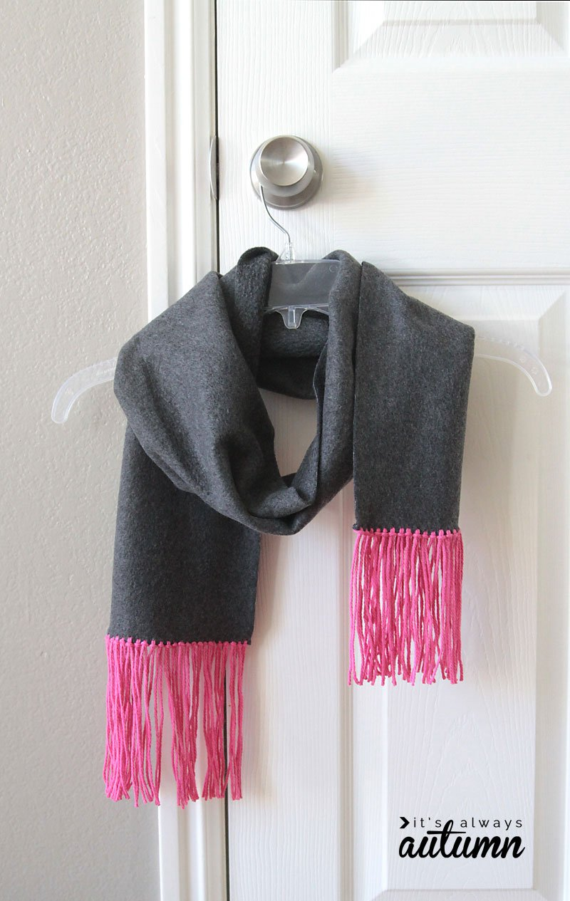 Easy Sew Fleece Fringe Scarf - Handmade Gift Ideas for Teens from The Birch Cottage