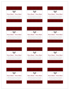 Printable Labels for Red Plaid Handmade Hand Warmers for Avery 22816 Labels