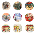 Vintage Round Christmas Labels 4