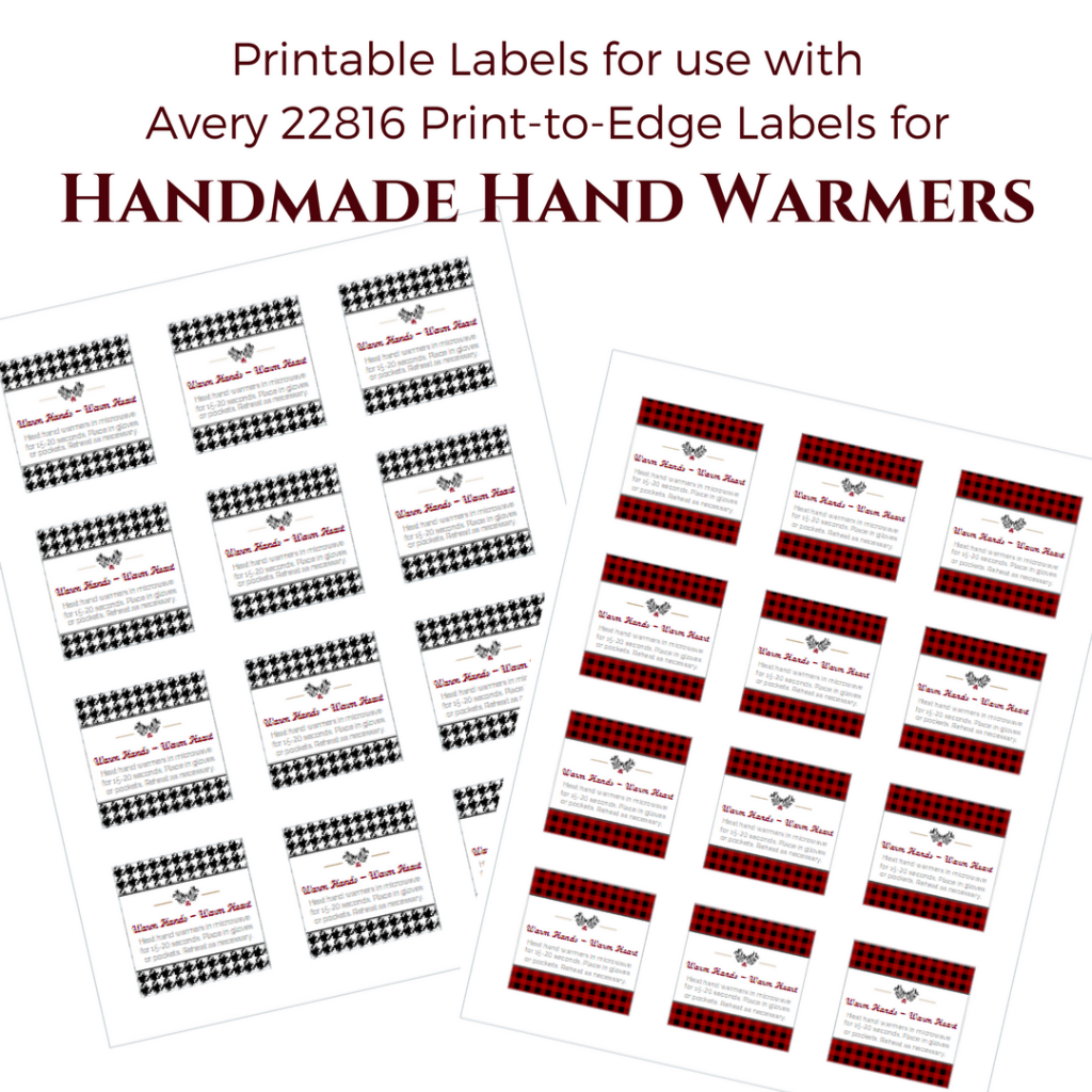 Printable Labels for Handmade Hand Warmers by The Birch Cottage are for use with Avery 22816 Print-to-Edge Labels