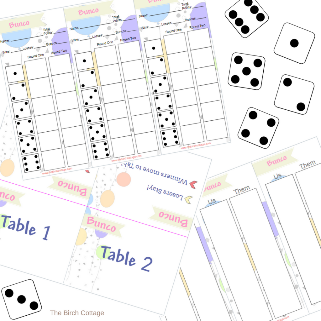 Play Bunco with these free printable Score Cards, Tally Sheets and Table Tent Cards by The Birch Cottage