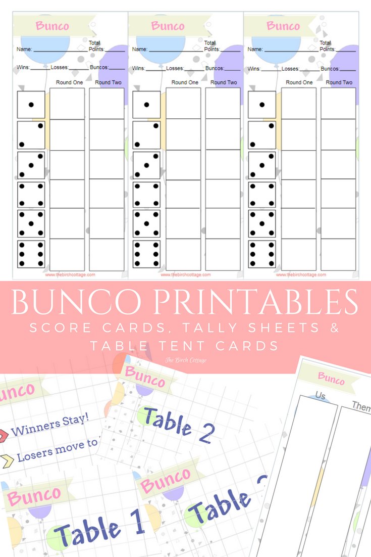 This is a graphic of Printable Bunco Sheets in phase 10