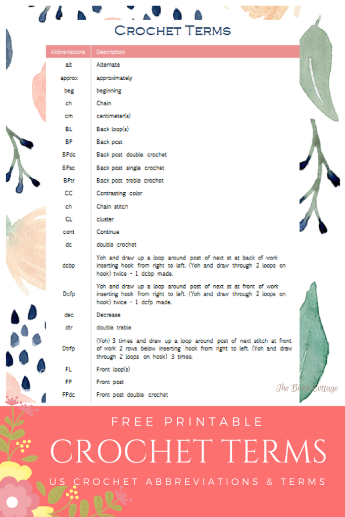 Learn To Crochet Printable Crochet Terms Chart The Birch Cottage