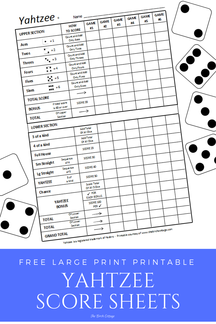 picture regarding Free Printable Yahtzee Score Cards titled Do it yourself Back garden Cube with Free of charge Printable Yahtzee® Ranking Sheets