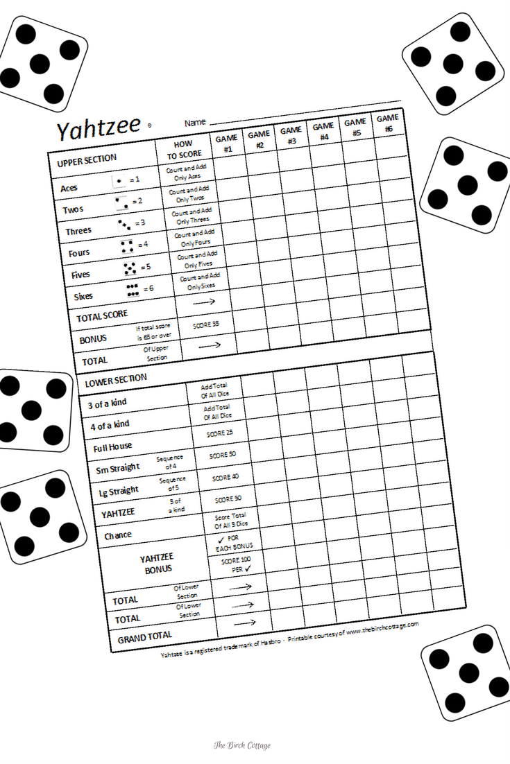 DIY Yard Dice and Printable Yahtzee Score Sheet by The Birch Cottage