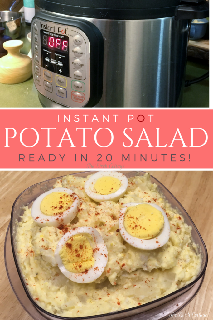 Instant Pot Potato Salad Recipe is quick and delicious! Get the full recipe on The Birch Cottage blog!