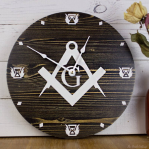 Handmade Wooden Masonic Square and Compass Wall Clock by The Birch Cottage