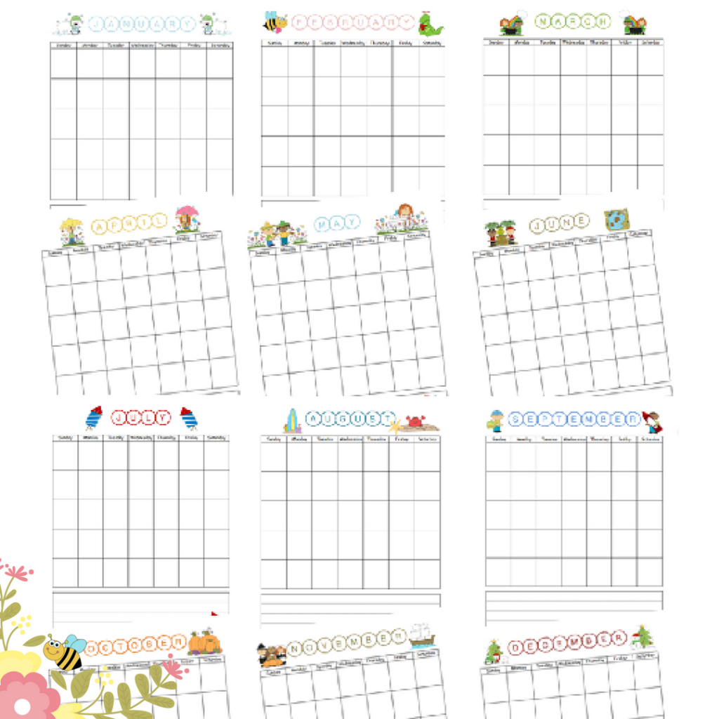 Teach your children how to use a calendar with this Printable Blank Monthly Calendar for Children