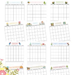 Printable Blank Monthly Calendar for Children