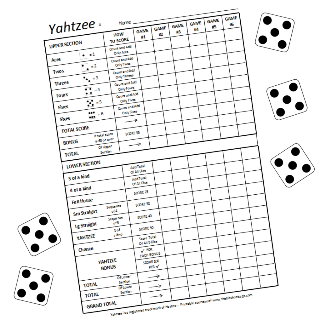 Download these free large print printable Yahtzee Score Sheets from The Birch Cottage