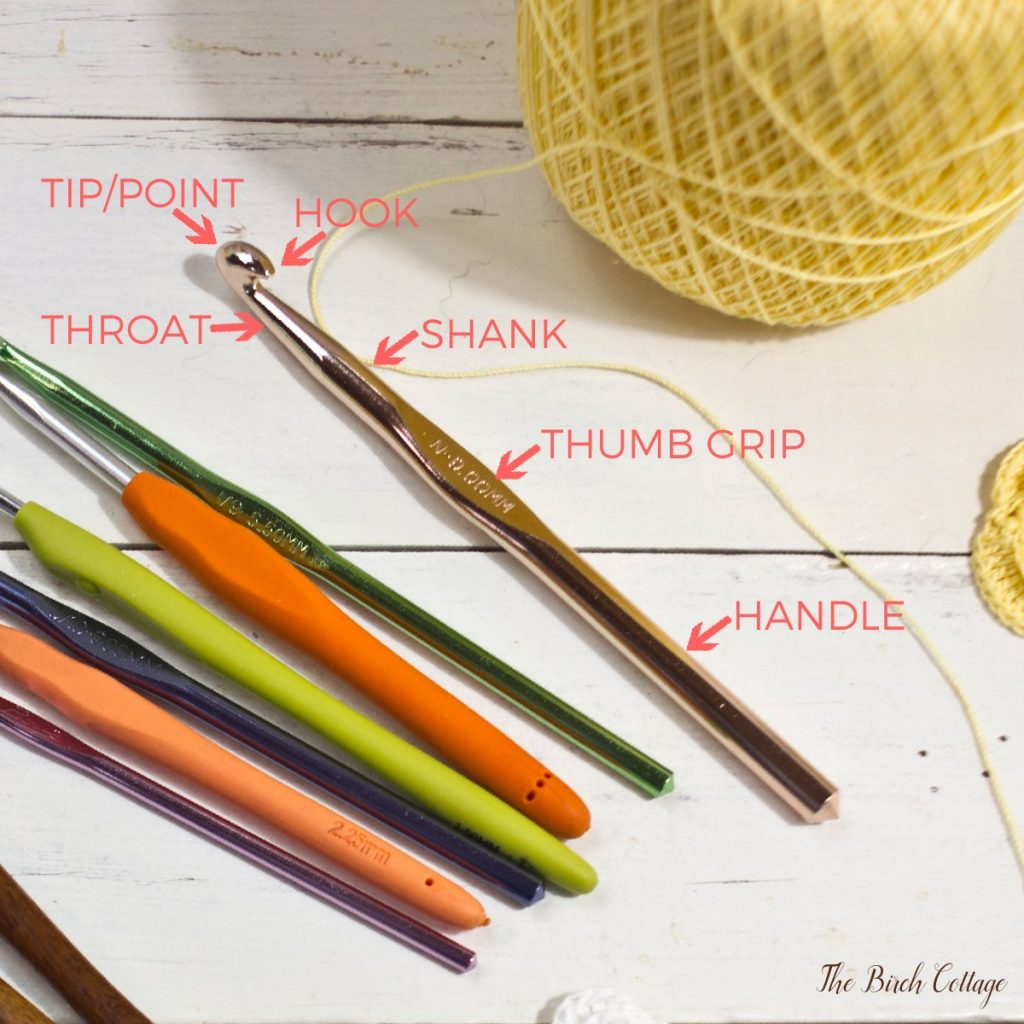 Learn how to crochet - the anatomy of a crochet hook by The Birch Cottage