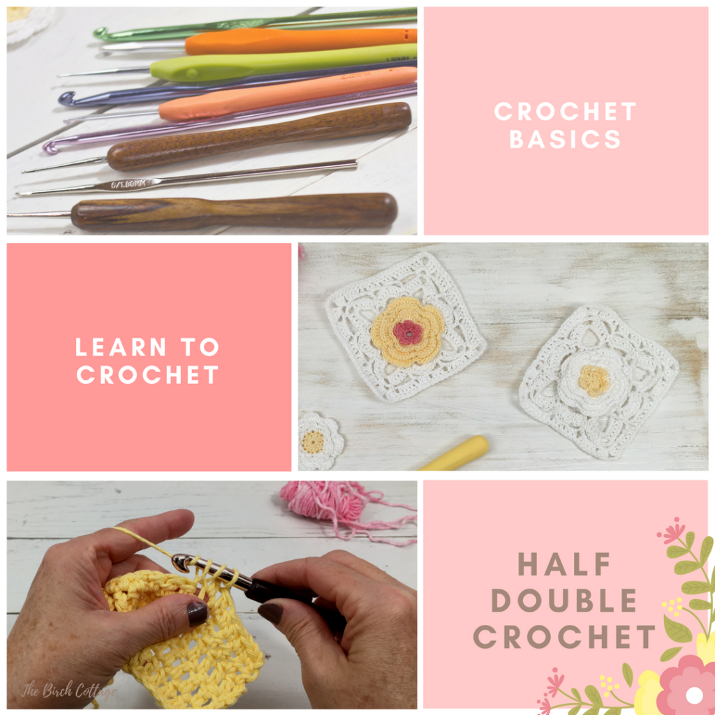 Learn how to half double crochet in this learn to crochet series by The Birch Cottage