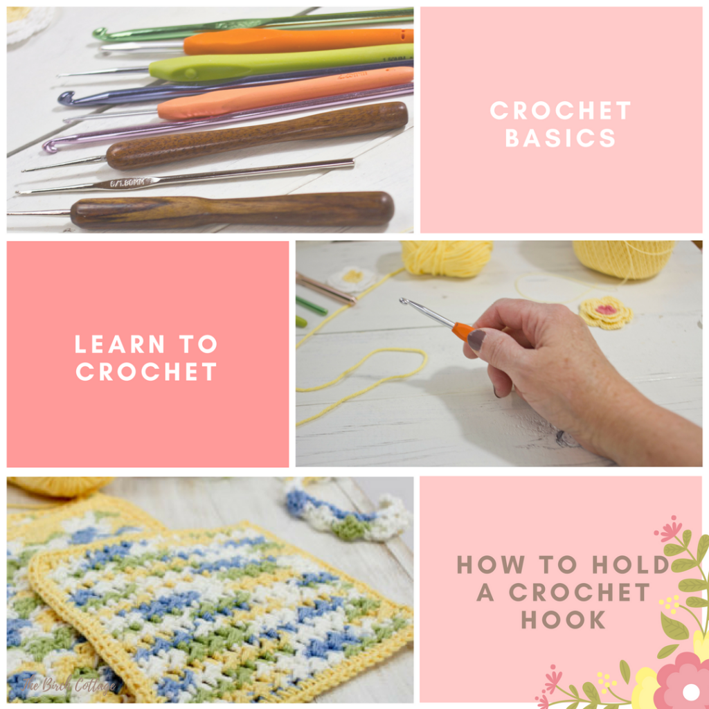 Learn how to hold a crochet hook in this learn to crochet series by The Birch Cottage