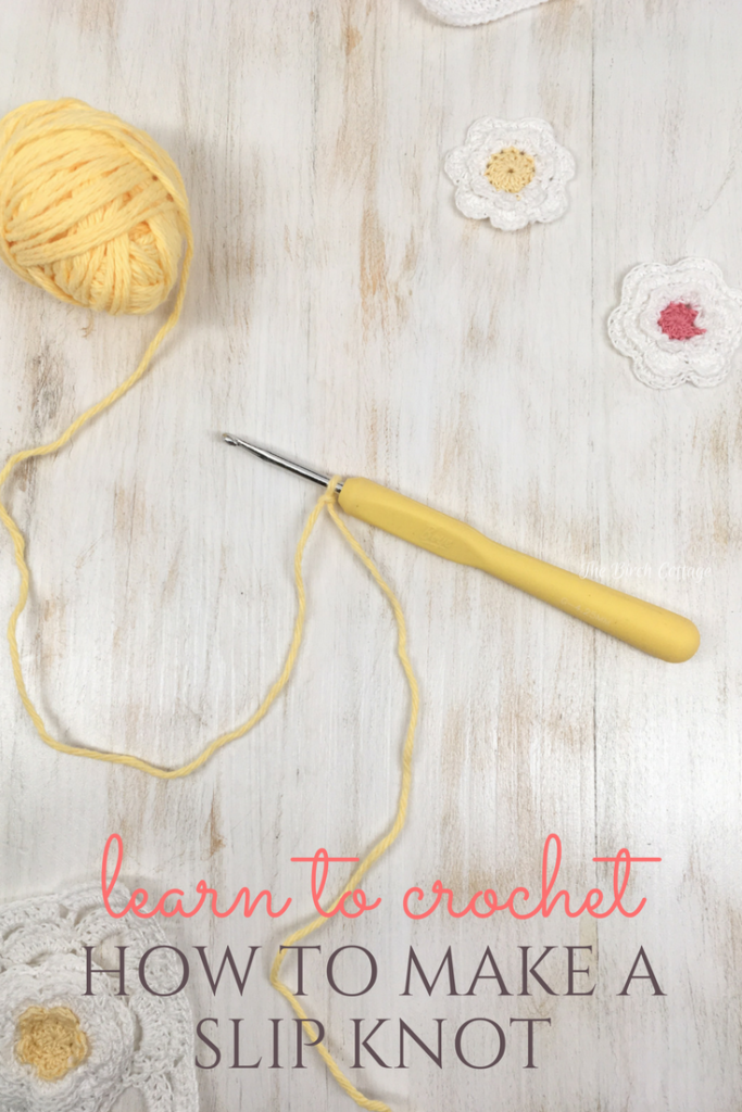 Learn how to make a slip knot in this Learn to Crochet series from The Birch Cottage