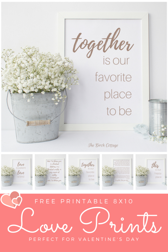 Free printable Love Prints by The Birch Cottage are perfect for Valentine's Day