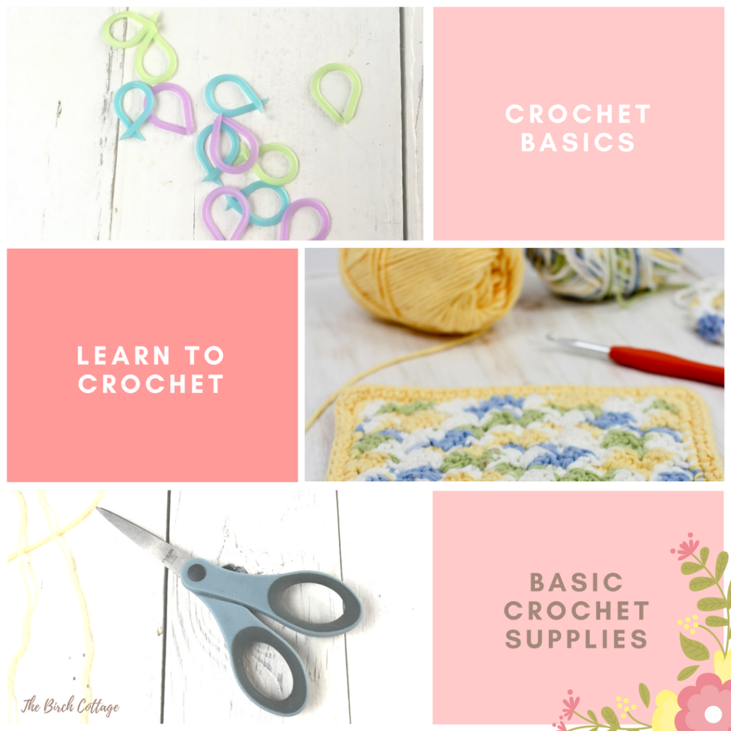 Basic supplies you'll need to learn how to make a slip knot in this learn to crochet series by The Birch Cottage