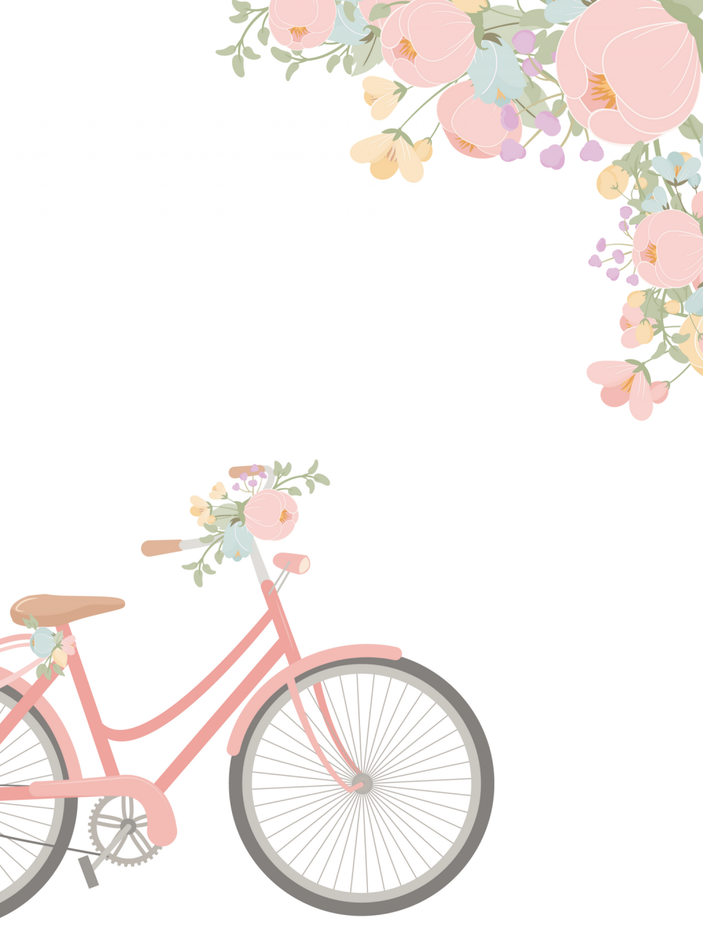 Ipad Watercolor Floral And Pink Bicycle Wallpaper By The Birch