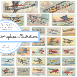 Vintage Airplane Illustrations – Perfect for a boy's bedroom decor!