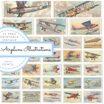 32 free Printable Vintage Airplane Illustrations from The Birch Cottage