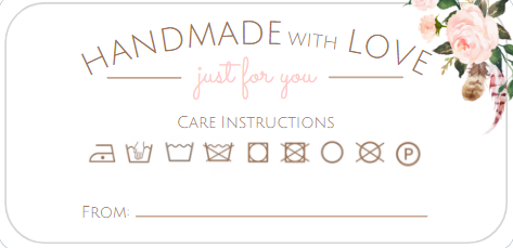 Handmade with Love Care Tags